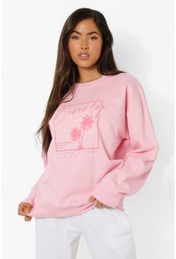 Pink Beverly Hills Print Sweater