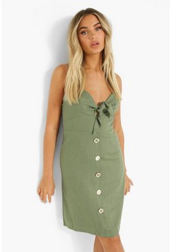 Khaki Tie Detail Button Through Mini Dress