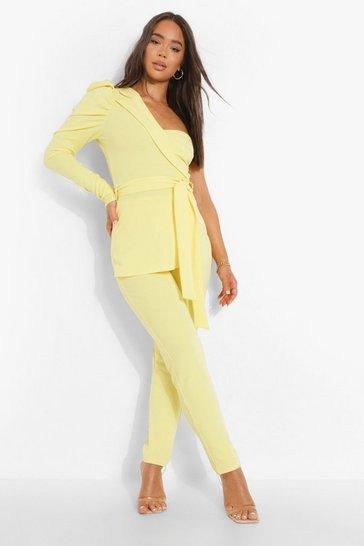 Lemon yellow Aysmetric Belted Puff Sleeve Jumpsuit
