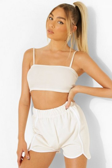 Stone beige Contrast Piping Elasticated Runner Shorts