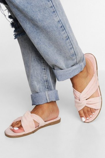 Nude Wide Fit Cross Over Sandals