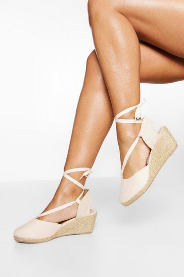Cream white Wide Fit Wrap Up Canvas Wedges