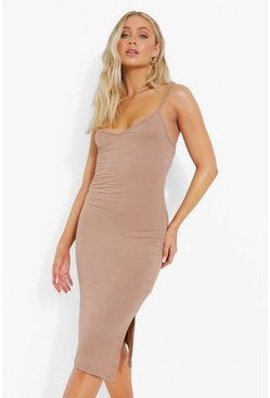 Strappy Side Split Midi Dress, Caramel beis