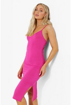 Hot pink pink Strappy Side Split Midi Dress