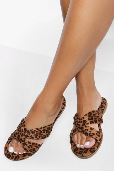 Wide Fit Leopard Cross Over Sandals