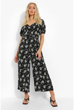 Black Floral Puff Sleeve Button Through Jumpsuit