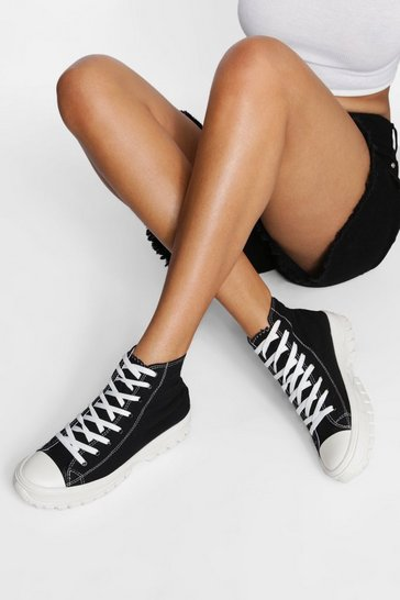 Black Cleated Sole High Top Trainer