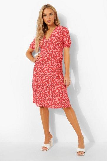 Red Floral Print Midi Tea Dress