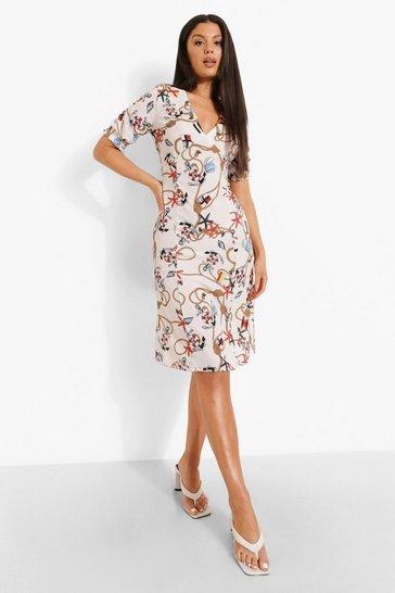 White Printed Midi Tea Dress