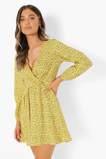 Mustard yellow Ditsy Floral Wrap Front Smock Dress