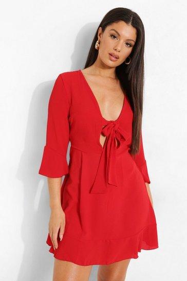 Red Tie Front Tea Dress