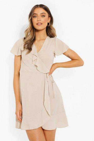 Stone beige Ruffle Belted Tea Dress