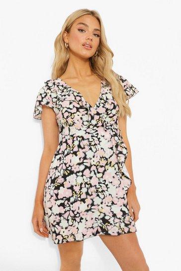 Black Floral Pinrt Woven Belted Tea Dress