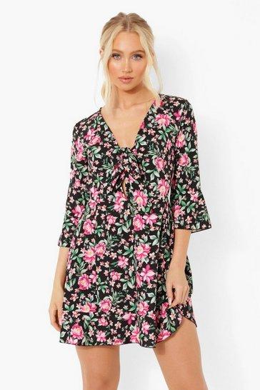 Black Flora Print Tie Front Tea Dress