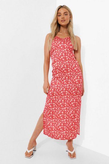 Red Floral Print Maxi Slip Dress
