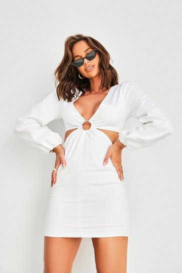 White O Ring Cut Out Balloon Sleeve Denim Dress