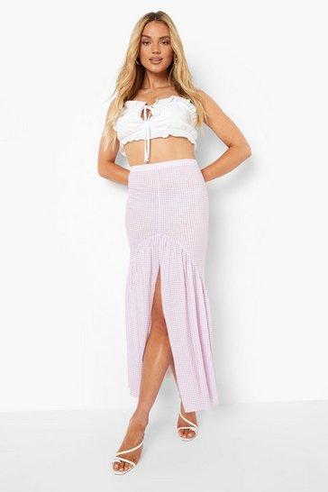 Lilac purple Button Front Gingham Drop Hem Maxi Skirt