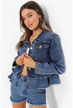 Mid blue blue Frill Hem Denim Jacket