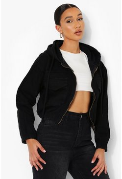 Black Zip Through Hooded Denim Jacket