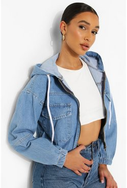 Mid blue blue Zip Through Hooded Denim Jacket