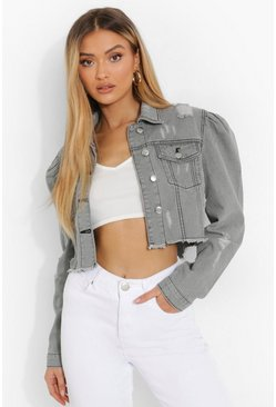 Grey All Over Distressed Puff Sleeve Denim Jacket