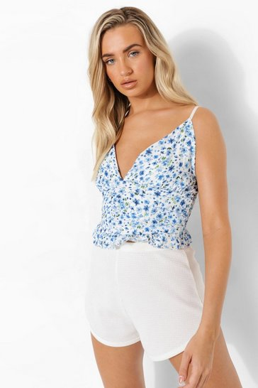 Blue Floral Ruched Ruffle Cami Top