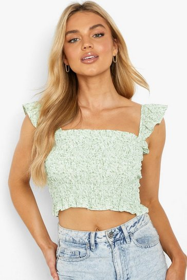 Green Floral Shirred Ruffle Top