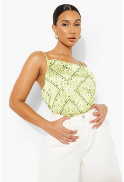 Lime green Scarf Print Cowl Neck Cami Top