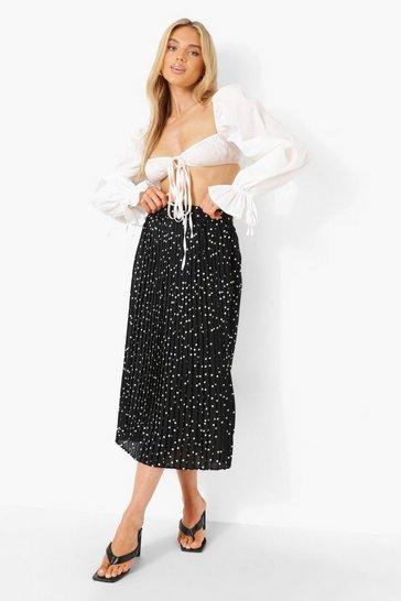 Woven Polka Dot Pleated Midi Skirt