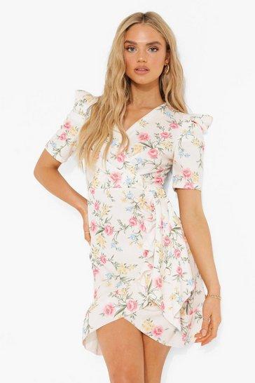 White Floral Wrap Ruffle Tea Dress