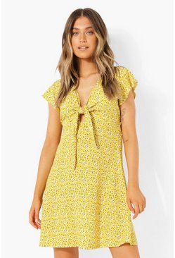 Floral Tie Detail Skater Dress, Mustard amarillo