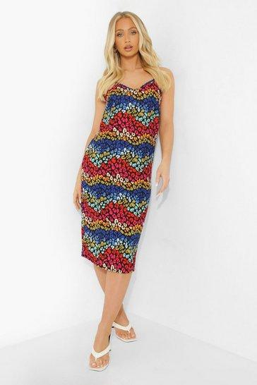Black Animal Print Midi Cami Dress