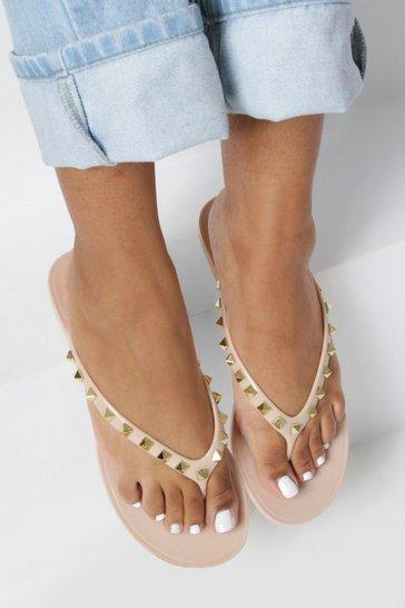 Nude Jelly Studded Flip Flops