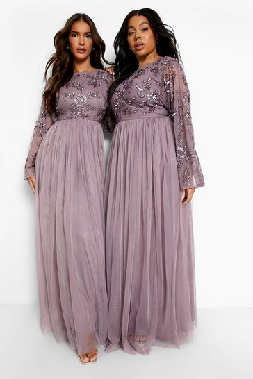 Mauve purple Bridesmaid Hand Embellished Long Sleeve Maxi