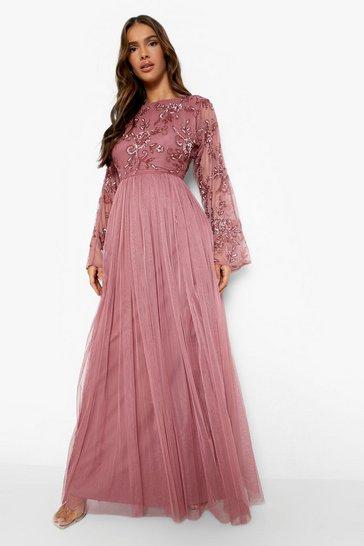 Rose pink Bridesmaid Hand Embellished Long Sleeve Maxi
