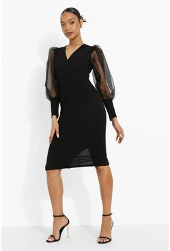 Black Mesh Puff Sleeve Midi Dress