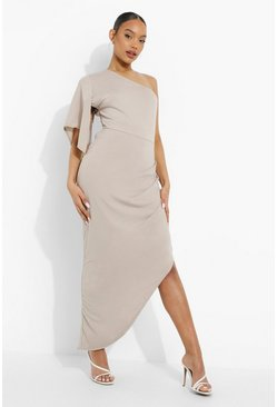 Grey One Shoulder Flared Sleeve Maxi Dress