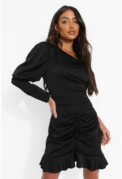 Black One Shoulder Frill Hem Mini Dress