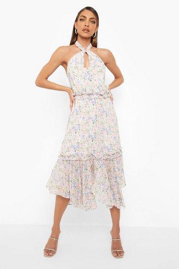 White Floral Print Halterneck Midi Dress