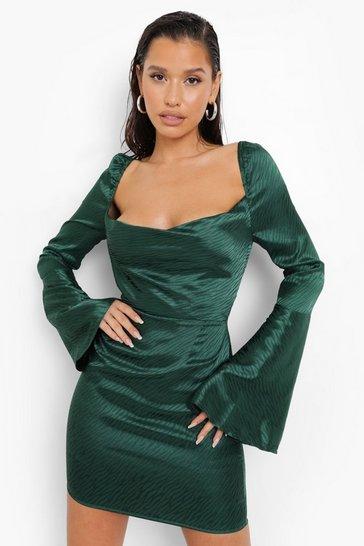 Green Zebra Cowl Neck Mini Dress