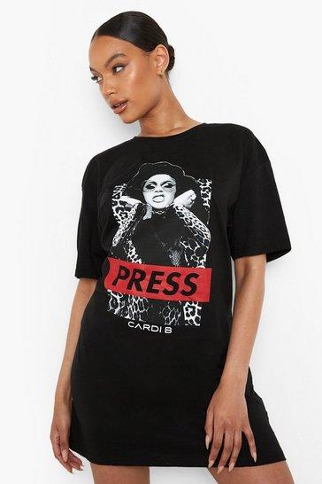 Black Cardi B Press Licence T Shirt Dress