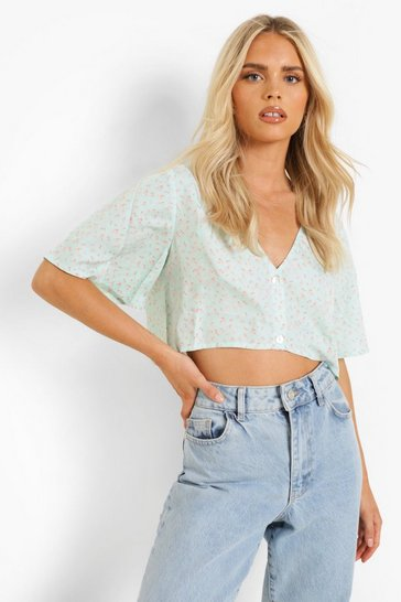 Sage green Floral Button Up Oversized Shirt