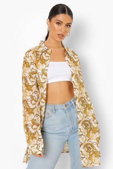 White Chain Print Oversized Shirt