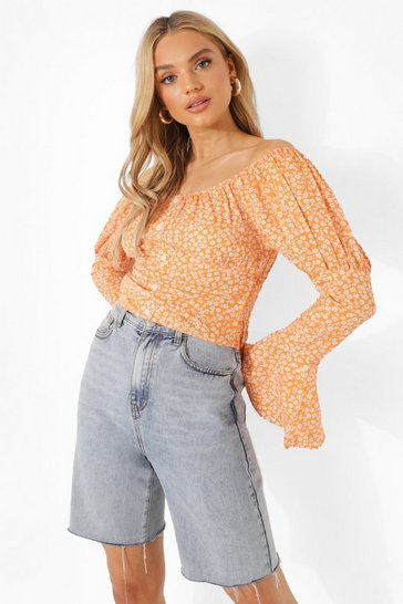Brown Puff Sleeve Floral Off The Shoulder Top