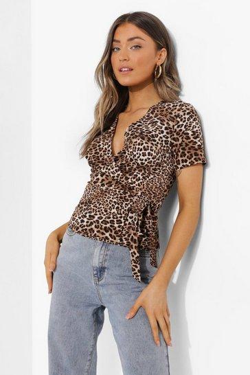 Brown Leopard Print Woven Wrap Top