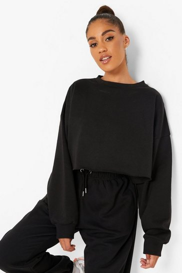 Black Recycled Cropped Sweater