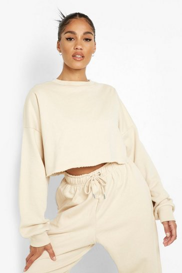 Stone beige Recycled Cropped Sweater