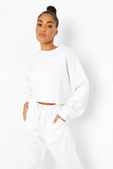 White Recycled Cropped Sweater