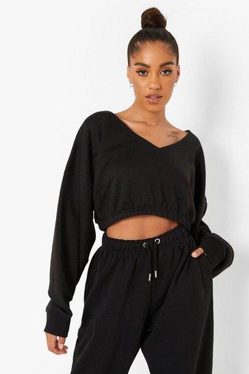 Black Recycled V Neck Sweater