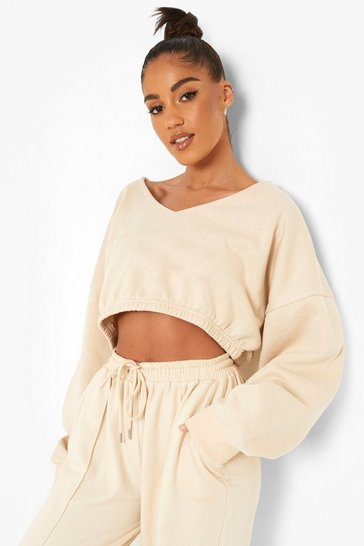 Stone beige Recycled V Neck Sweater